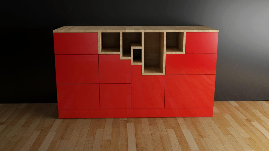 Red Kubik´s cube _sideboard