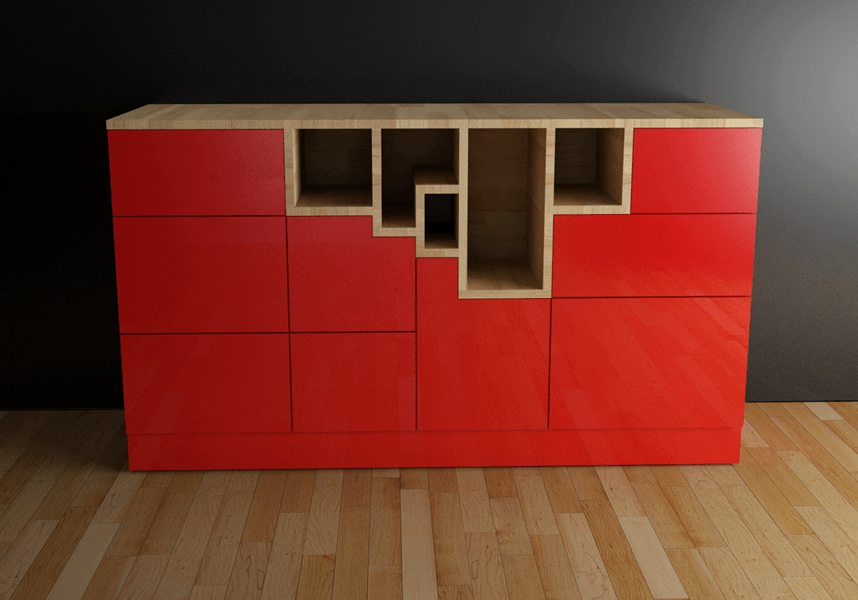Red Kubik´s cube _sideboard